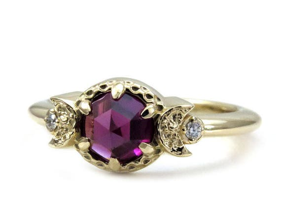 Rhodolite Garnet Moon Phase Engagement Ring - 14k Gold with Diamonds