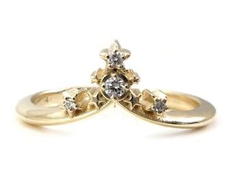 Starseed Stacking Chevron Wedding Band - 14k Gold with Black or White Diamonds