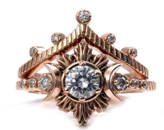 Moon Beam and Stardust Engagement Ring Set - 14k Rose Gold with Forever One or Diamond Center Stone