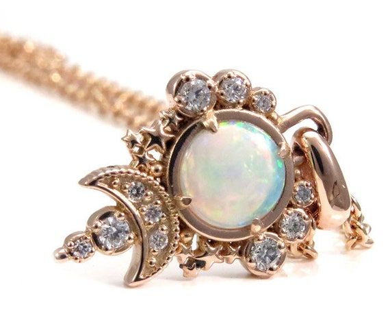 Opal Moon Pendant - White Diamond Celestial Necklace - 14k Rose Gold - Ready to Ship