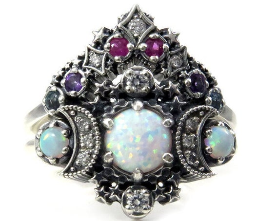 Lab Opal Cosmos Moon and Star Ring - Sterling Silver with White Diamonds and Nebula Stardust Crown