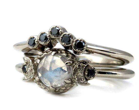 Rainbow Moonstone Moon Phase Engagement Ring with Black Diamond Crown Wedding Band