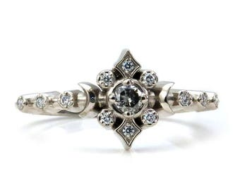 Grey and White Diamond Tiny Moon and Star Engagement Ring - Petite Fine Jewelry