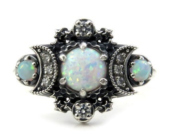 Lab Opal Cosmos Moon and Star Ring - Sterling Silver with White Diamonds - Boho Engagement