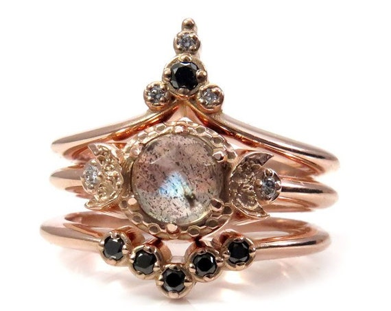 Moon Temple Rose Gold Engagement Ring Set - Rose Cut Labradorite with Black and White Diamonds