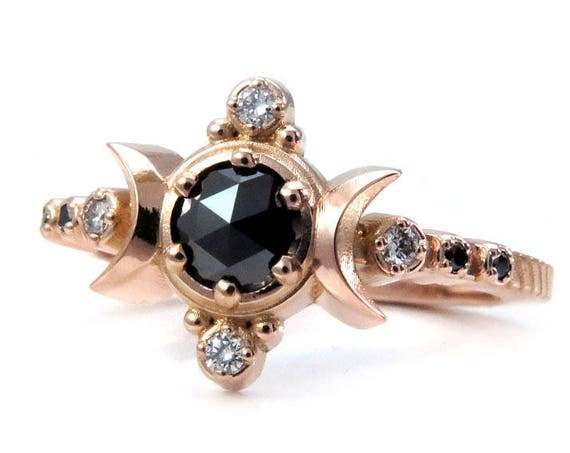 Black and White Diamond Compass Moon Engagement Ring - Rose Gold