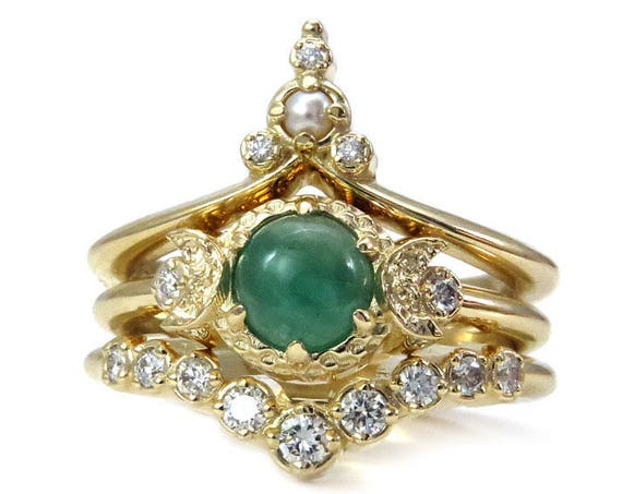 Emerald Moon Temple Gold Engagement Ring Set with White Diamonds and Seed Pearl