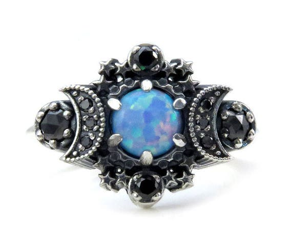 Cosmos Moon Ring - Lab Blue Grey Opal with Black Diamonds