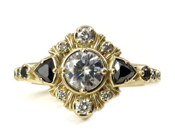 Art Deco Moissanite Engagement Ring with Black Diamond Trillions and Gold Fringe