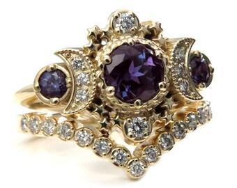 Chatham Alexandrite Cosmos Gold Moon Engagement Ring Set - Moon & Star Celestial Wedding Rings