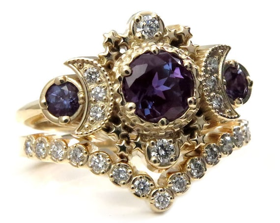 Chatham Alexandrite Cosmos Gold Moon Engagement Ring Set - Moon & Star Celestial Wedding Rings