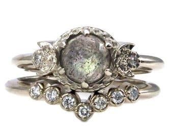 Rose Cut Labradorite and Diamond Moon Engagement Ring Set - 14k Gold Bohemian Wedding Rings