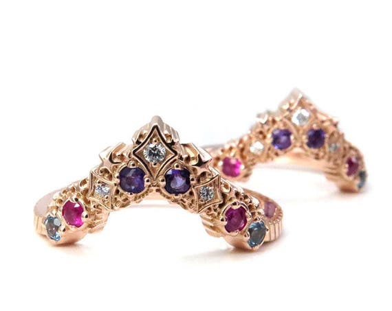 Nebula Stardust Chevron Wedding Band with Amethyst, Pink Sapphire, Swiss Blue Topaz and Diamonds