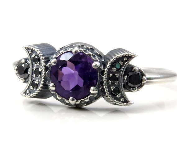 Ready to Ship Size 4 - 6 - Hecate Triple Moon Ring - Sterling Silver with Amethyst and Black Diamond Gothic Engagement Ring
