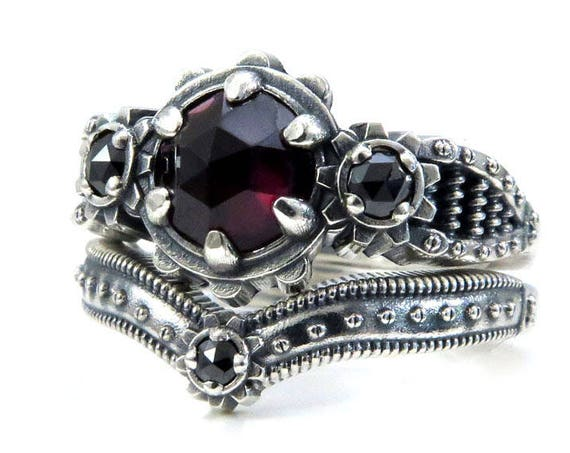 Ladies Steampunk Engagement Ring Set - Rose Cut Blood Red Garnet and Black Diamond - Sterling Silver