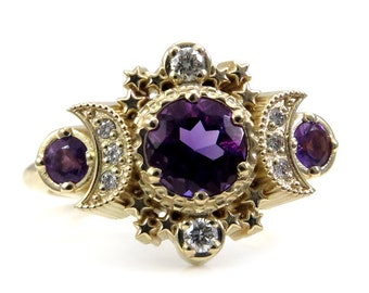 Amethyst and Diamond Cosmos Engagement Ring - Moon Goddess Fine Jewelry