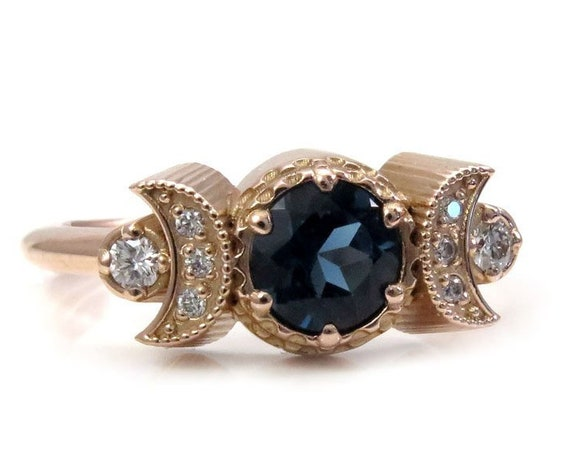 Hecate Moon Engagement Ring - London Blue Topaz & White Diamonds - Gold Bohemain Jewelry