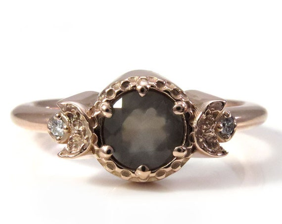 Faceted Grey Moonstone and Diamond Triple Moon Engagement Ring - 14k Rose Gold