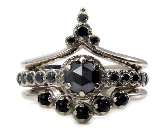 Gothic Art Deco Black Diamond Engagement Ring Set - Black Diamonds and Onyx