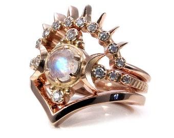 Rainbow Moonstone Moon Goddess Engagement Ring Set with Sunray and Chevron Wedding Bands