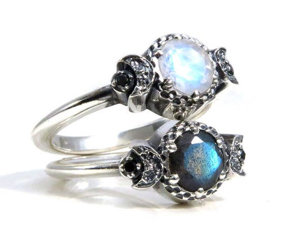 Best Friends Moon Rings - Sterling Silver Bestie Mother Daughter Jewelry - Labradorite and Moonstone