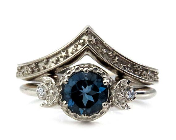 Moon Ring and Stardust Wedding Ring Set - London Blue Topaz Celestial Engagement Rings