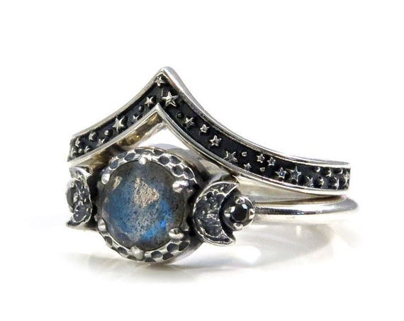 Labradorite Moon and Stars Sterling Silver Engagement Ring Set with Black Diamonds