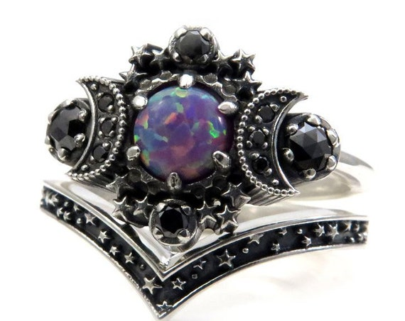 Purple Lab Opal Cosmos Moon Engagement Ring Set - Sterling Silver with Black Diamonds