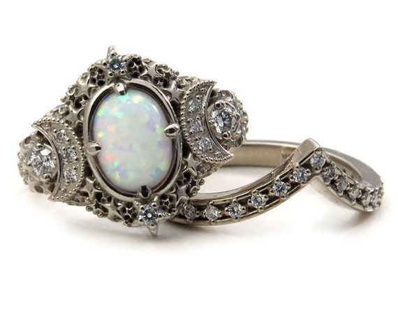 Lab Opal Starseed Engagement Ring Set - Palladium White Gold and Diamonds - Celestial Wedding Rings