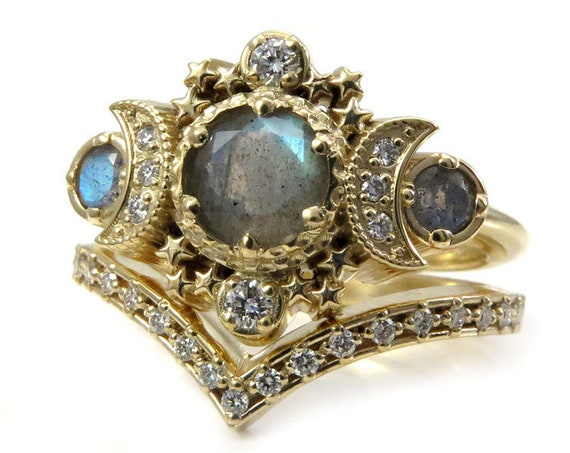 Labradorite & Diamond Cosmos Moon Engagement Ring Set - Triple Moon Goddess Fine Jewelry