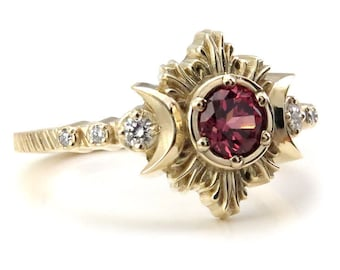 Malaya Garnet Moon Fire Gothic Engagement Ring with White Diamonds - Lunar Fine Jewelry