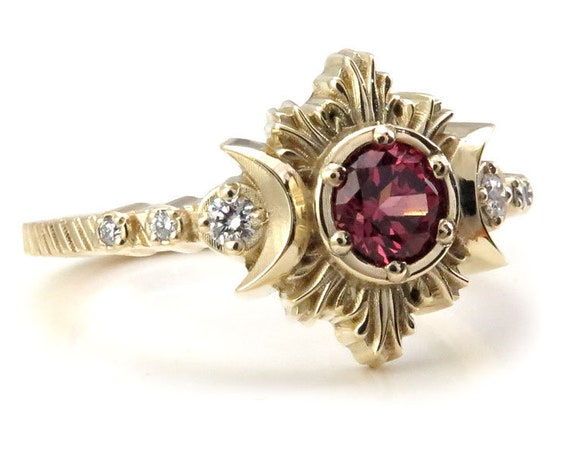 Malaya Garnet Moon Fire Gothic Engagement Ring with White Diamonds - Lunar Fine Jewelry