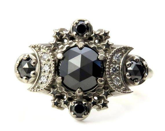 Black and White Diamond Cosmos Moon Engagement Ring - Gothic Boho Engagement Ring