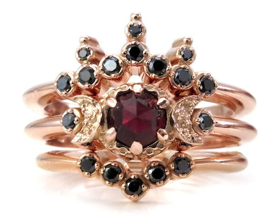 Blood Moon Boho Engagement Ring Set - Rose Cut Garnet with Black Diamond Side Bands