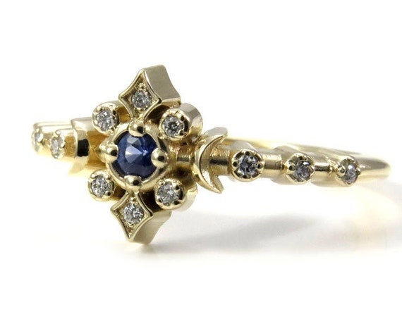 Cornflower Sapphire and White Diamond Petite Moon Engagement Ring - Celestial Fine Jewelry