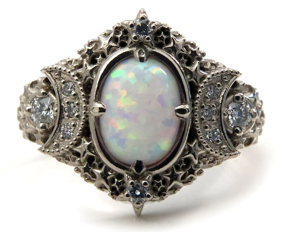 Oval Starseed Engagement Ring - Lab Opal and Diamonds - Lunar Cosmic Wedding Ring