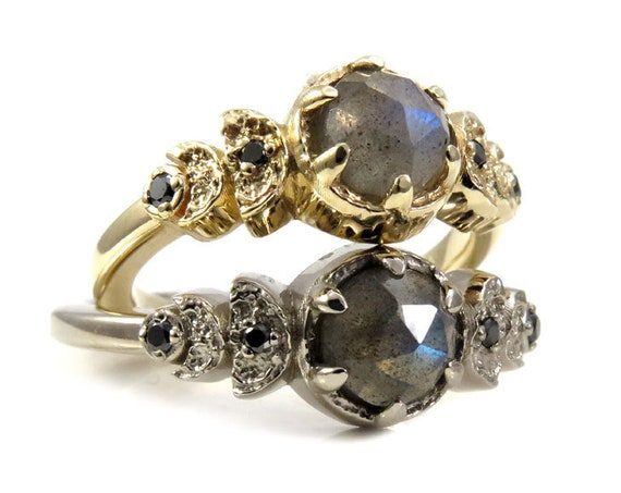 Moon Phase Labradorite and Black Diamond Engagement Ring