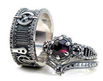 785f0ef11d0 Silver Steampunk Wedding Ring Set - Rose Cut Garnet and Black Diamonds -  His and Hers Gear Rings