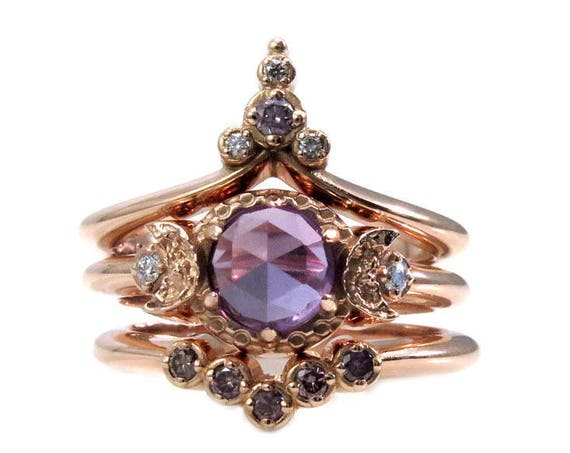 Lavender Moon Temple Rose Gold Engagement Ring Set - Lab Alexandrite with Lavender and White Diamonds
