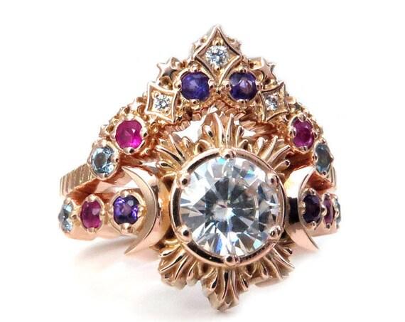 Diamond Moon and Stardust Nebula Engagement Ring Set - Galaxy Wedding Ring