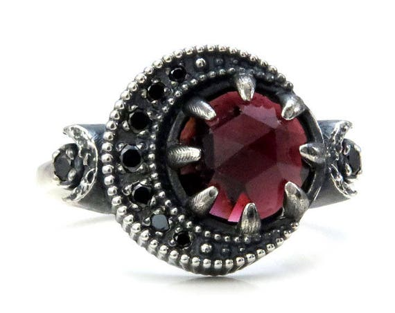 Garnet Blood Moon Ring - Sterling Silver Celestial Fine Jewelry - Black Diamond or Moissanite Crescent