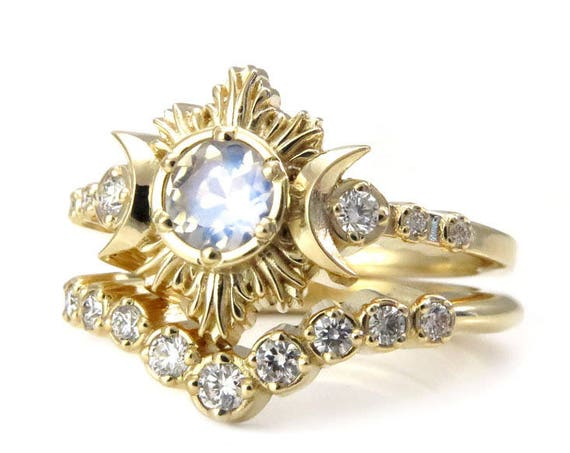 Moonstone and Diamond Engagement Ring Set - Celestial Lunar Ceremonial Jewelry
