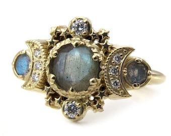 Labradorite & Diamond Cosmos Moon Engagement Ring - Gold Fine Bohemian Jewelry