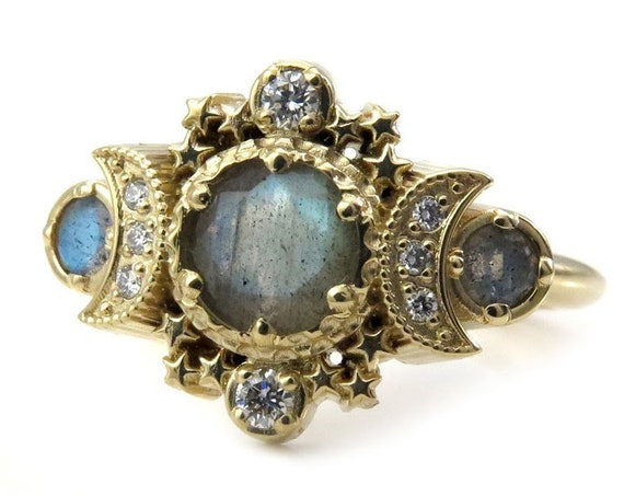 Labradorite & Diamond Cosmos Moon Engagement Ring - Gold Fine Bohemian Jewelry