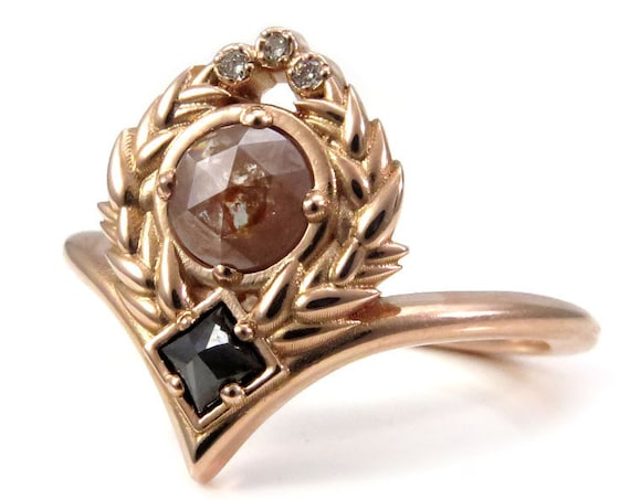 Sweetgrass Chevron Engagement Ring - Rose Cut Diamonds with Reverse Set Black Princess Diamond