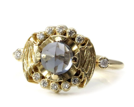 Gold Bat Wing Engagement Ring with Blue Grey Quartz and Black or White Diamonds