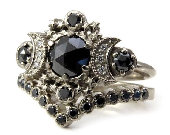 Black Diamond Gothic Moon Engagement Ring with Pave Diamond Chevron Wedding Band