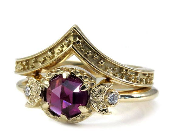 Rhodolite Garnet Moon and Star Engagement Ring Set - 14k Gold with Diamonds