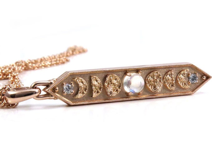 Featured listing image: 14k Rose Gold and Moonstone Moon Phase Bar Pendant with Diamonds - Celestial Necklace