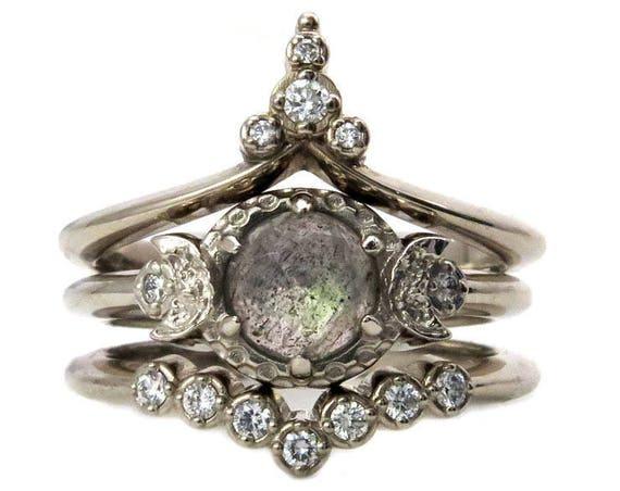 White Moon Temple Engagement Ring Set - Rose Cut Labradorite with White Diamond Stacking Wedding Bands